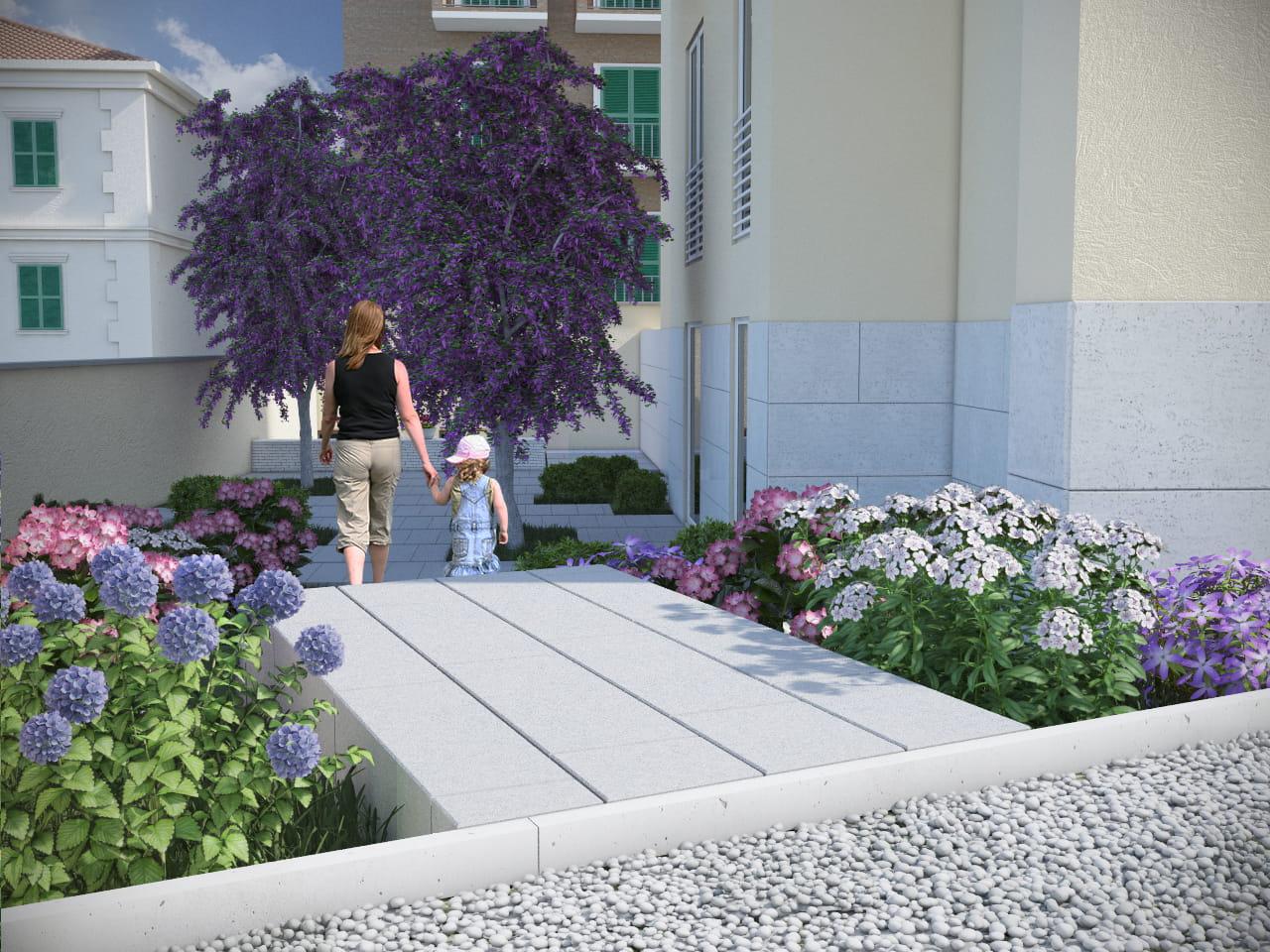 stefanomimmocchirendering lavori render esterni listino prezzi Render giardino condominiale per Studio Forniti - progettazione e ristrutturazione roma - servizio di renderista