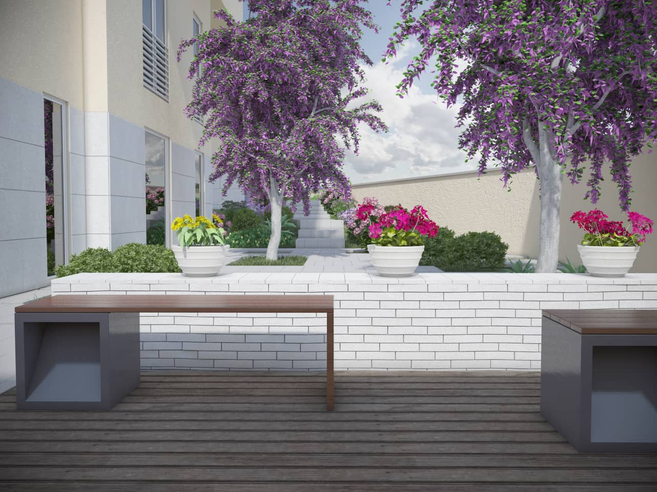 Render giardino condominiale studio 3d sm rendering for Rendering giardino