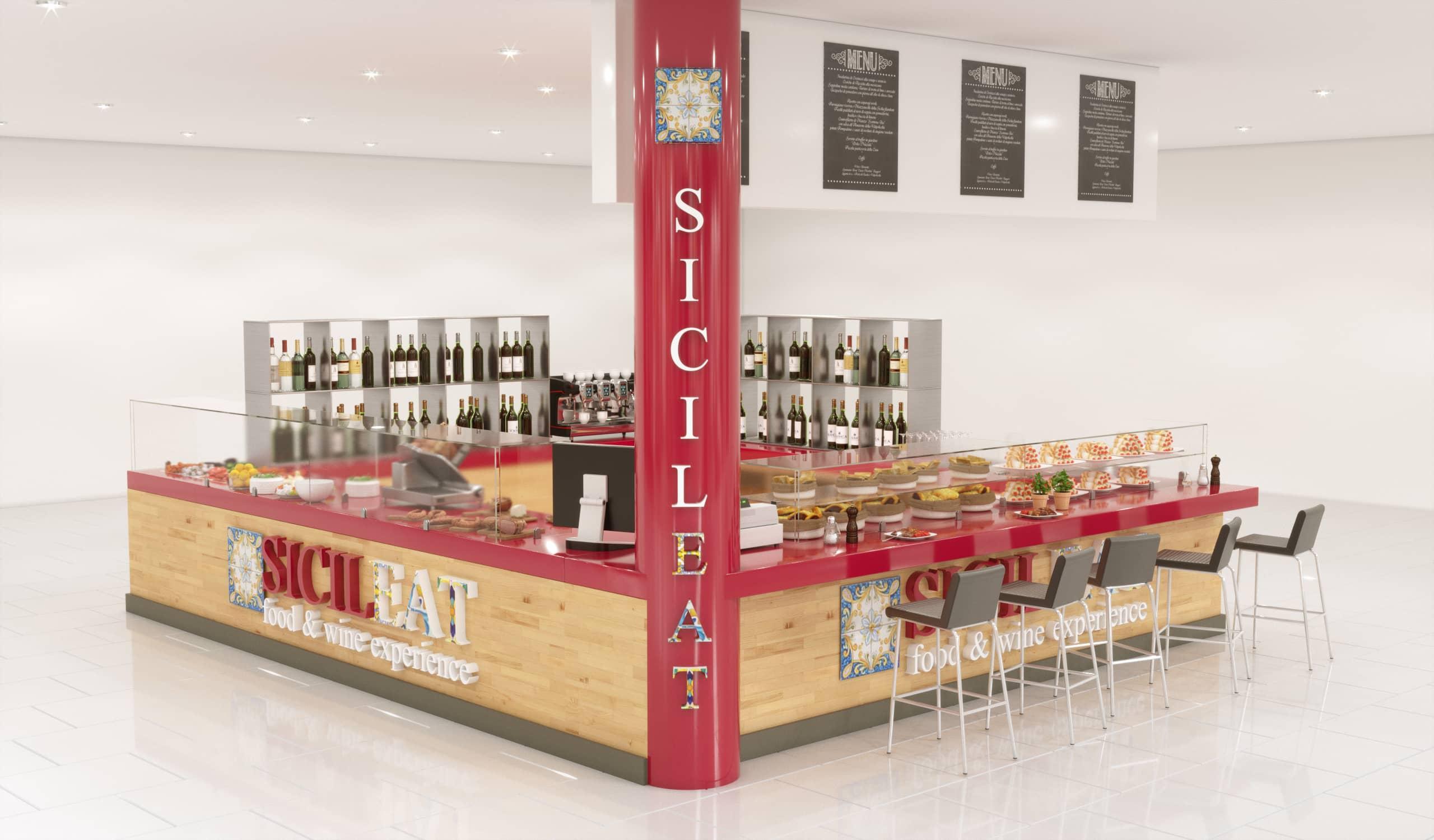Rendering progetto zona ristorazione Sicileat n. 3