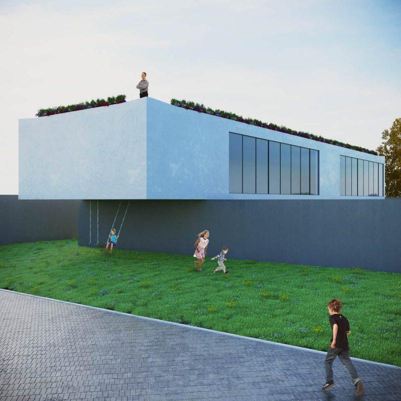 rendering esterni area giochi - rendering roma - rendering progetto - rendering architettura