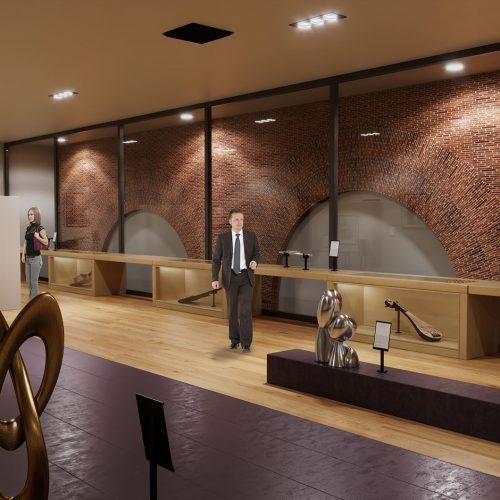 Vista 1 rendering VR sala espositiva - rendering foto realistico
