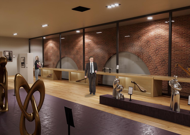 Vista 1 rendering VR sala espositiva - rendering foto realistico- realtà aumentata - rendering per tavole di concorso