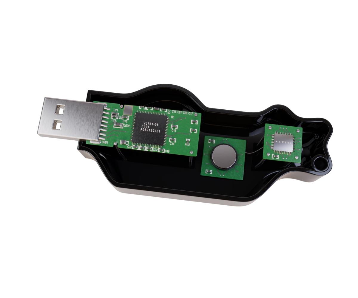Render di prodotto per crowdfunding - Render chiavetta USB - Render per crowdfunding - Render di prodotto - Versione nera aperta