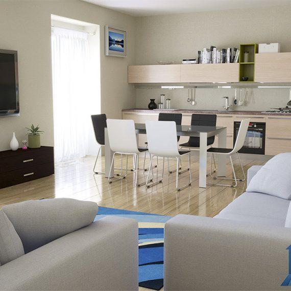 Rendering interni per agenzia immobiliare - rendering interni- ristrutturazione e progettazione - rendering salone e cucina - rendering camera da letto