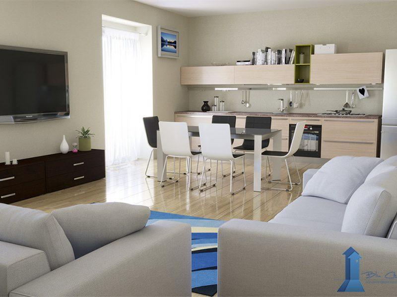 Rendering interni per agenzia immobiliare - ristrutturazione e progettazione - rendering salone e cucina - rendering camera da letto - quanto costa un render - costo dell'animazione 3D - prezzo rendering - rendering arredamento
