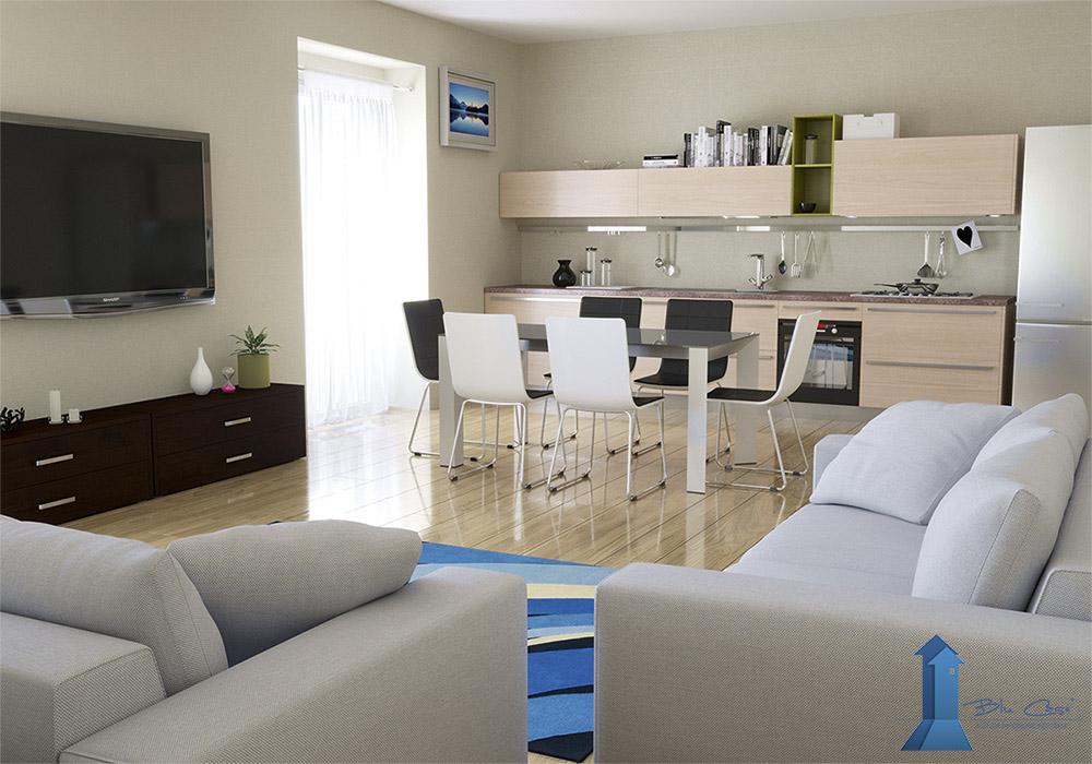 Rendering interni per agenzia immobiliare - rendering interni- ristrutturazione e progettazione - rendering salone e cucina - rendering camera da letto - quanto costa un render - costo dell'animazione 3D - prezzo rendering