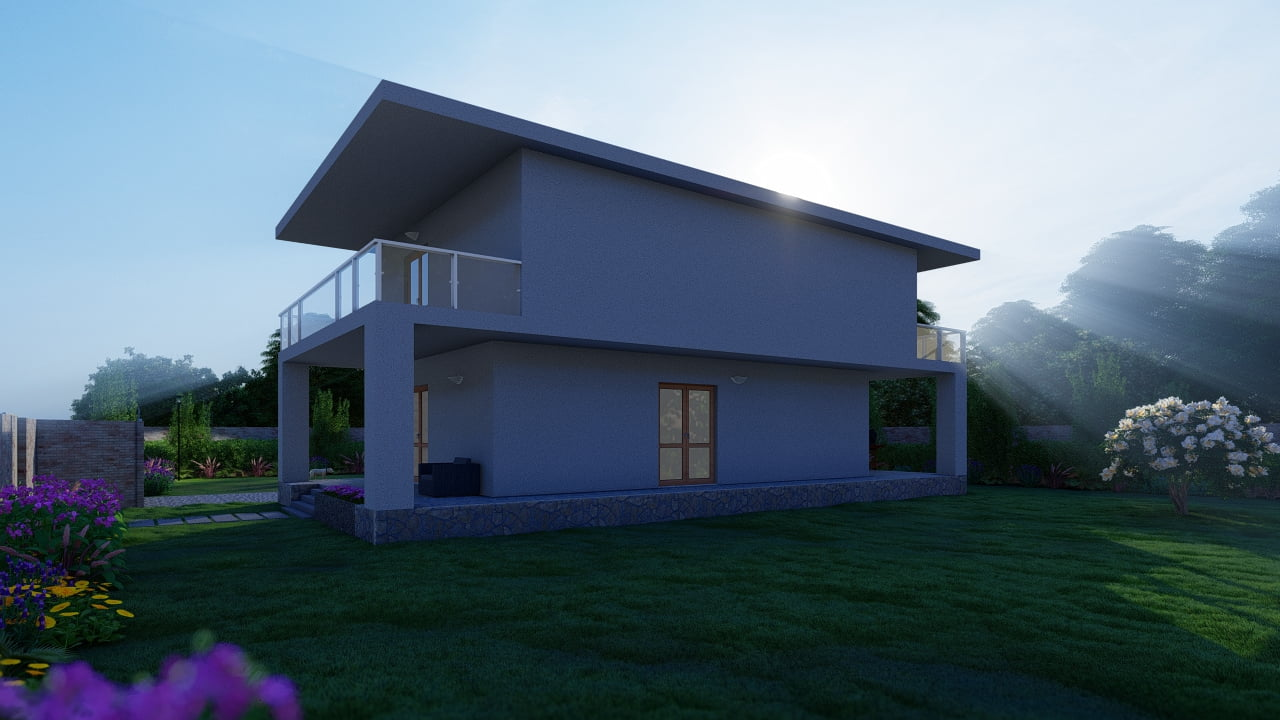 animazione 3D villino unifamiliare, rendering esterni, animazione 3D architettura - studio di progettazione Roma