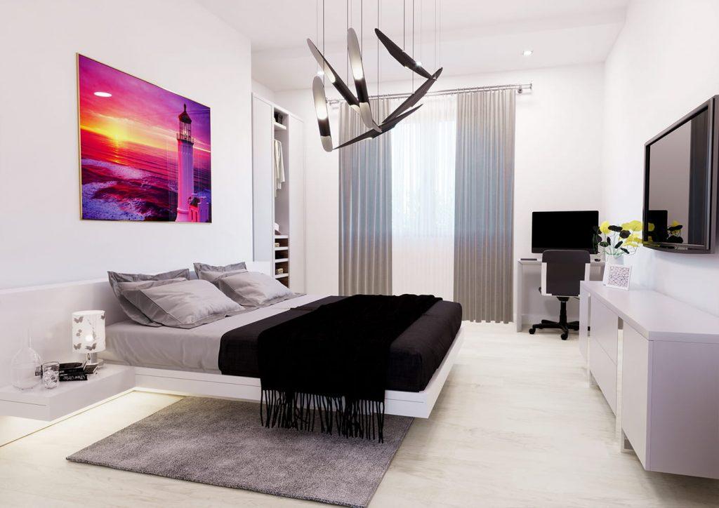 render camera da letto appartamento Pescara