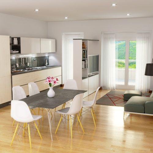 rendering Roma - Rendering agenzia immobiliare Roma - Rendering salotto cucina Roma - preventivo rendering interni - rendering arredamento