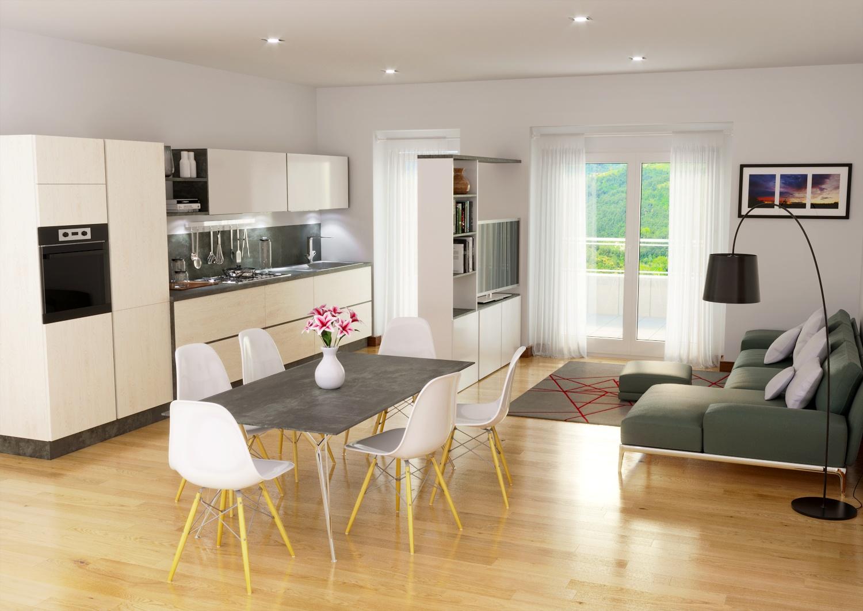 rendering Roma - Rendering agenzia immobiliare Roma - Rendering salotto cucina Roma - Studio rendering Roma - Render appartamento Roma