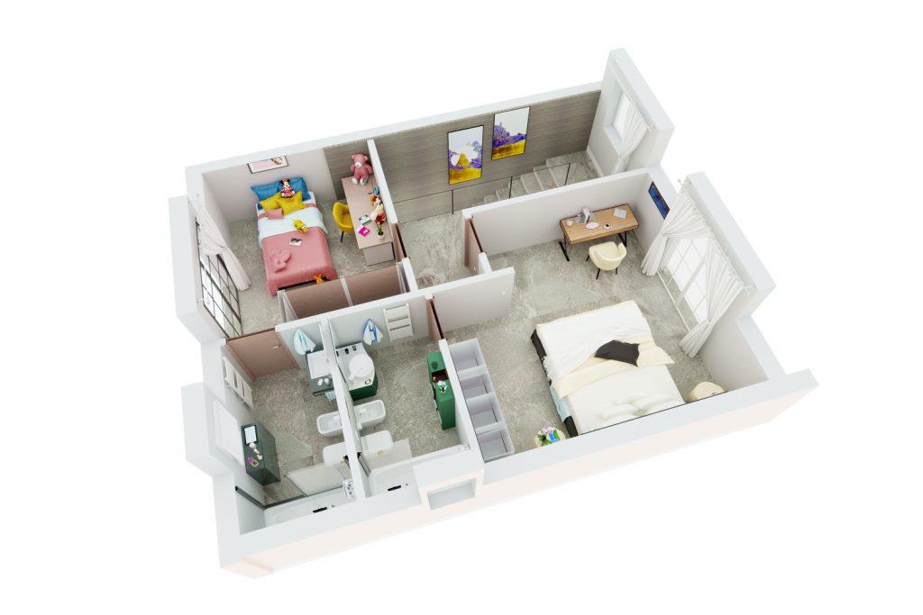 spaccato 3D appartamento villino trifamiliare - spaccato 3D immobile - spaccato 3D per agenzia immobiliare - spaccato 3D per imprese di costruzioni - render spaccato 3D appartamento