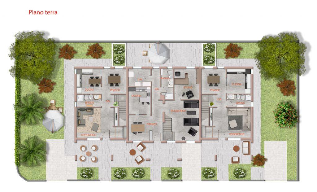 pianta 2D villino trifamiliare - pianta 2D per agenzia immobiliare - pianta 2D per impresa di costruzioni - pianta 2D con texture