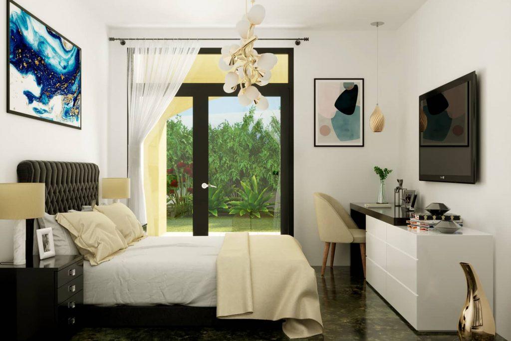 render interni progetto villino - render camera da letto - rendering progetto appartamento - rendering