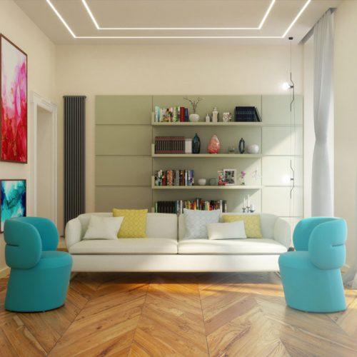 Rendering interni arredamento moderno - Rendering interni - Rendering arredamento moderno salotto - Rendering progetto arredo